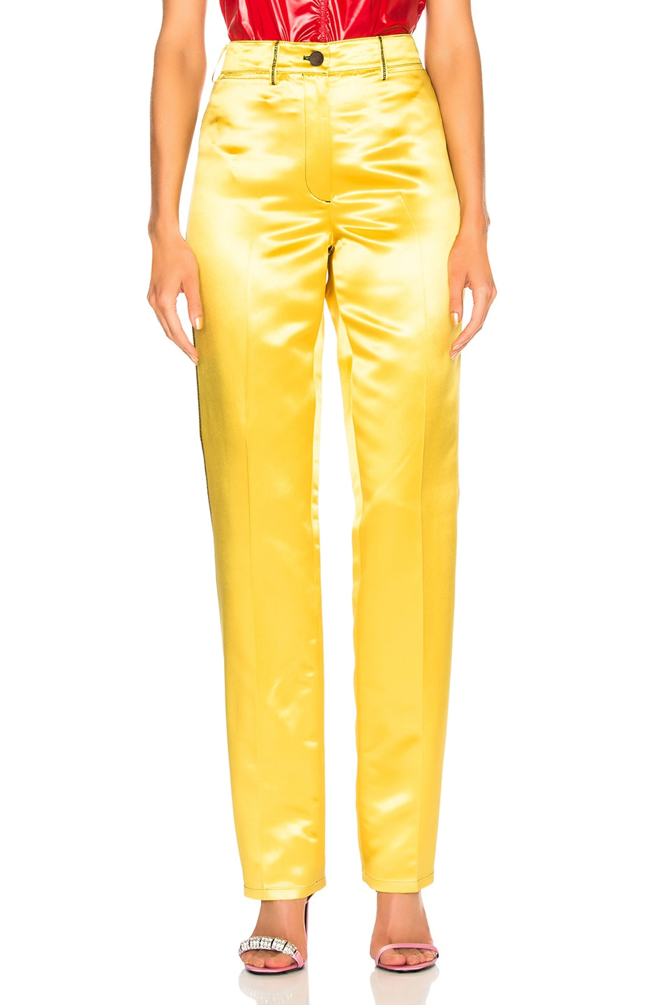 Image 1 of CALVIN KLEIN 205W39NYC High Waisted Trousers in Yellow