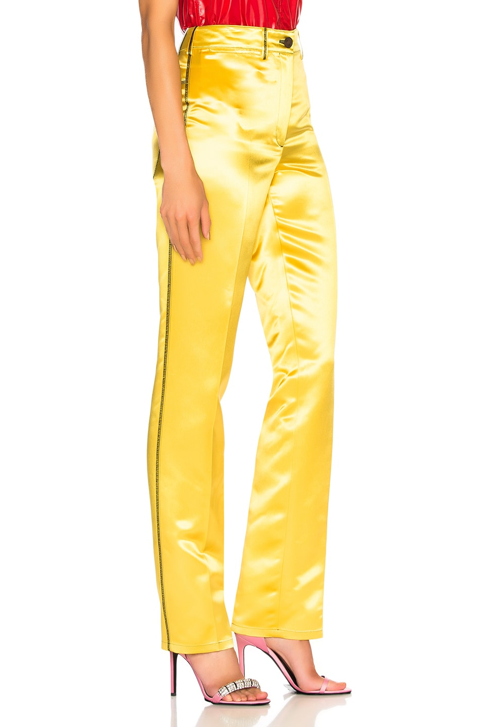 Image 2 of CALVIN KLEIN 205W39NYC High Waisted Trousers in Yellow