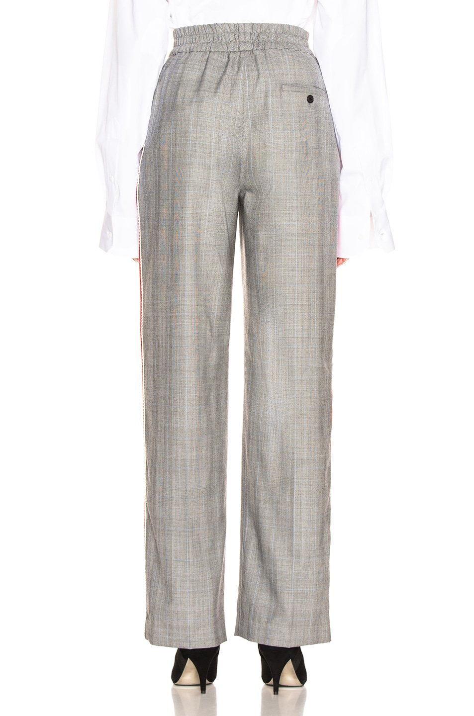 Image 4 of CALVIN KLEIN 205W39NYC Check Wide Leg Trousers in Black, White & Light Sky