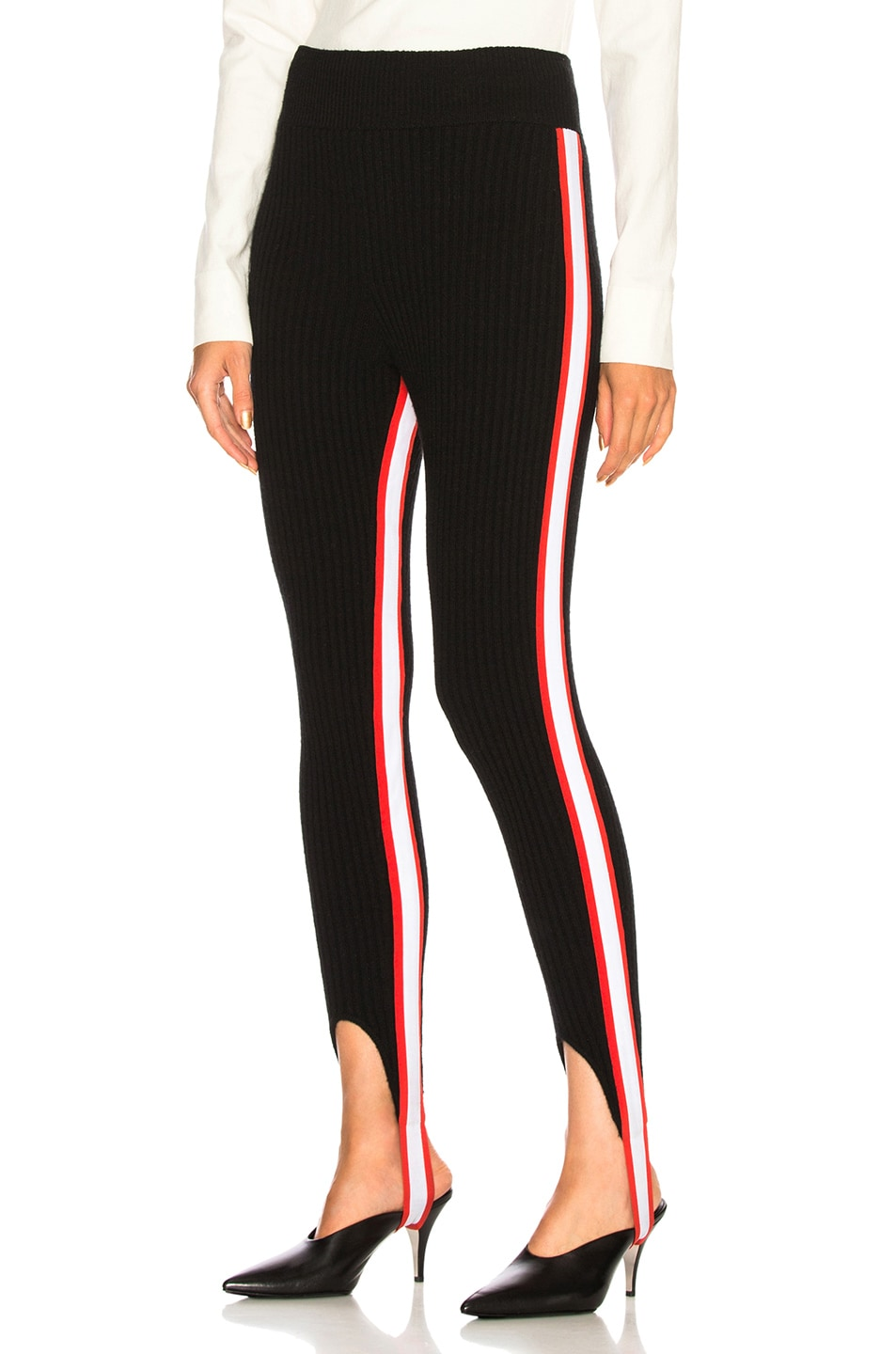 Image 1 of CALVIN KLEIN 205W39NYC Side Stripe Ribbed Stirrup Leggings in Black, Red & White
