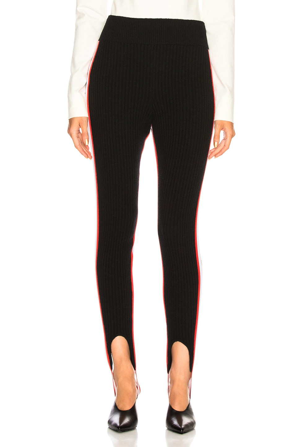 Image 2 of CALVIN KLEIN 205W39NYC Side Stripe Ribbed Stirrup Leggings in Black, Red & White
