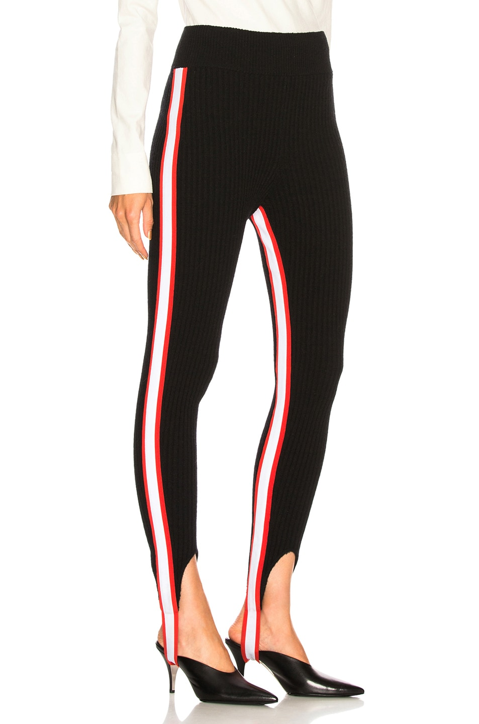 Image 3 of CALVIN KLEIN 205W39NYC Side Stripe Ribbed Stirrup Leggings in Black, Red & White