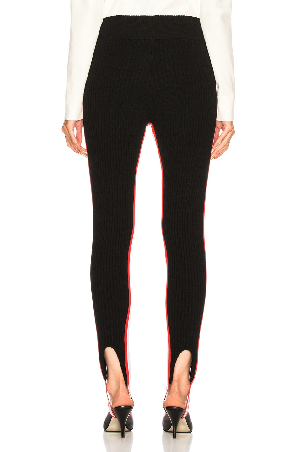 Image 4 of CALVIN KLEIN 205W39NYC Side Stripe Ribbed Stirrup Leggings in Black, Red & White