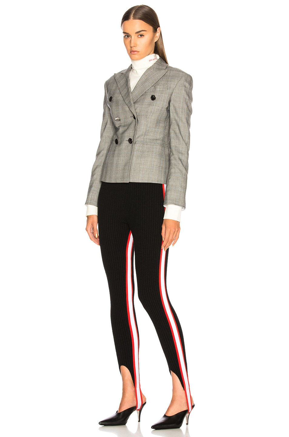 Image 5 of CALVIN KLEIN 205W39NYC Side Stripe Ribbed Stirrup Leggings in Black, Red & White