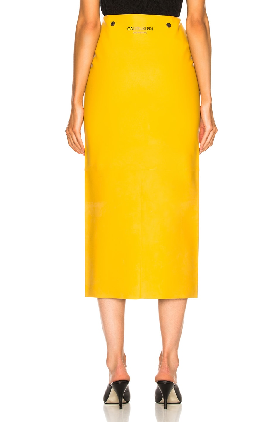 Image 3 of CALVIN KLEIN 205W39NYC Midi Skirt in Pastel Yellow
