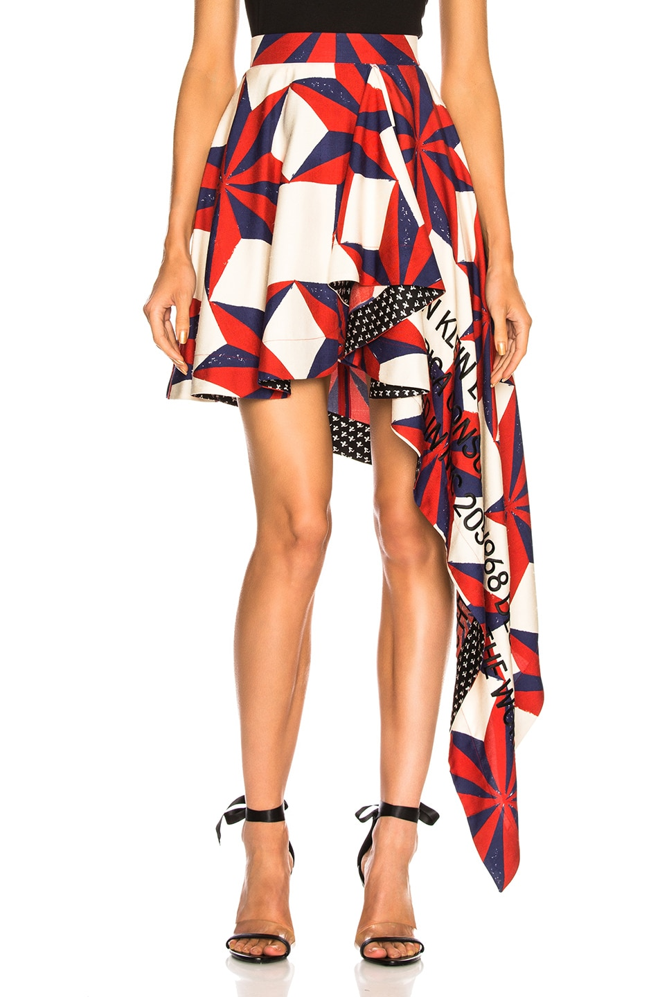 Image 1 of CALVIN KLEIN 205W39NYC Printed Asymmetric Ruffle Skirt in Ecru, Blue, Red & Black