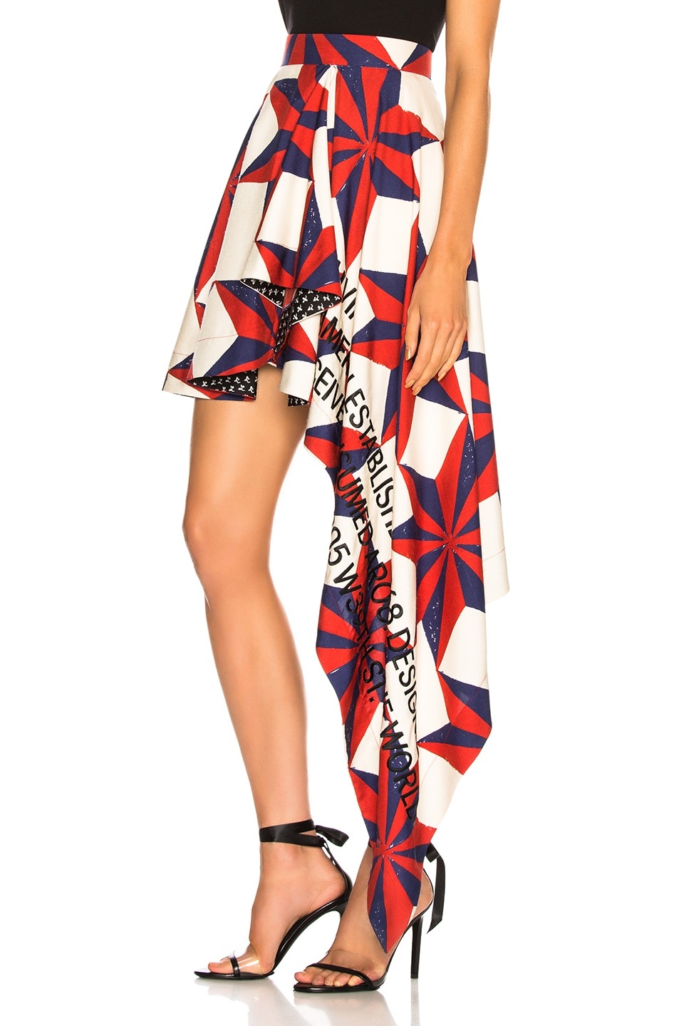 Image 3 of CALVIN KLEIN 205W39NYC Printed Asymmetric Ruffle Skirt in Ecru, Blue, Red & Black