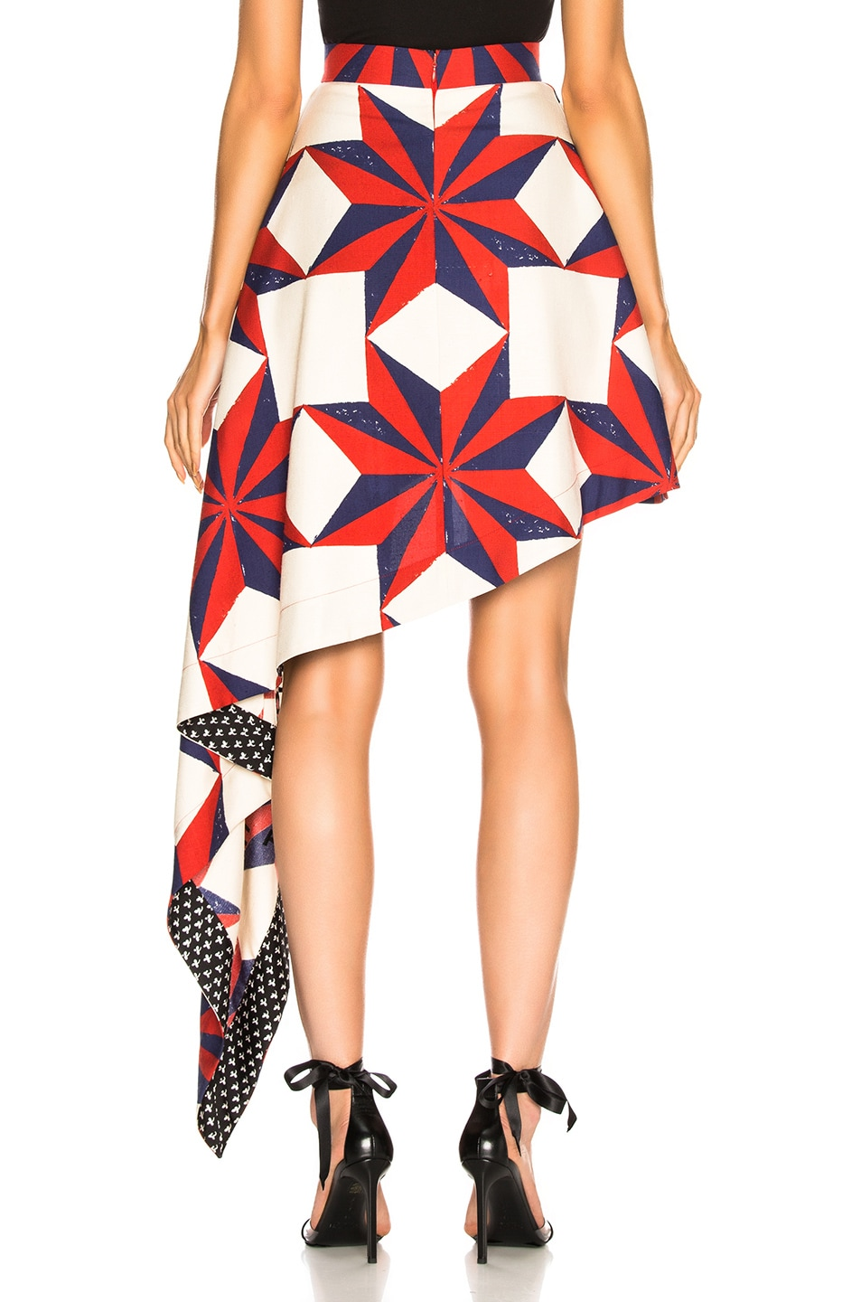 Image 4 of CALVIN KLEIN 205W39NYC Printed Asymmetric Ruffle Skirt in Ecru, Blue, Red & Black