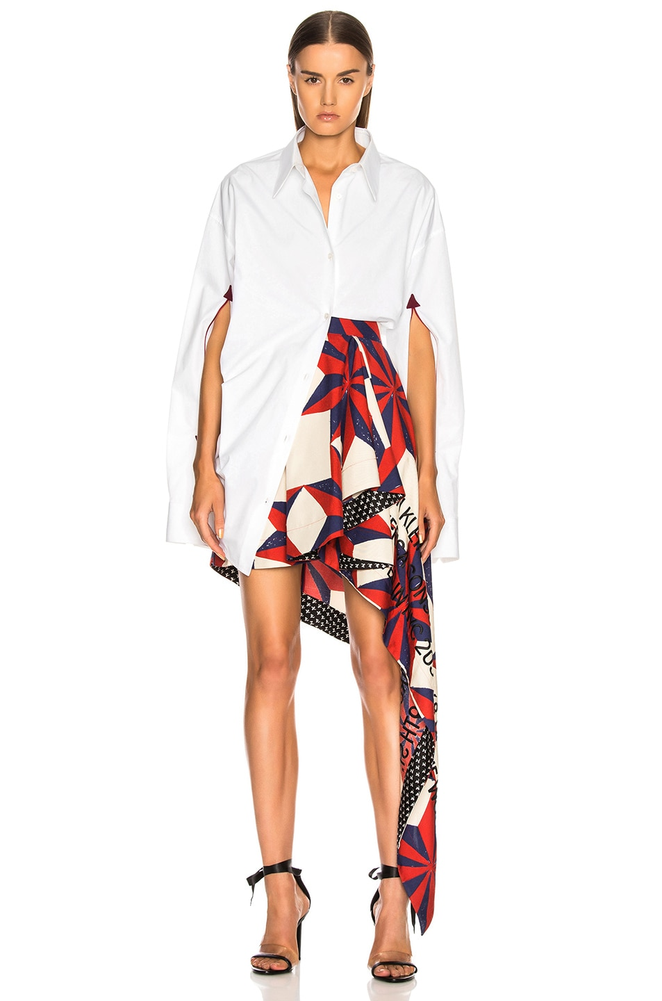 Image 5 of CALVIN KLEIN 205W39NYC Printed Asymmetric Ruffle Skirt in Ecru, Blue, Red & Black