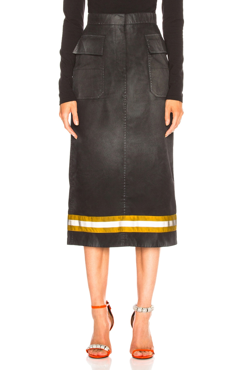 Image 1 of CALVIN KLEIN 205W39NYC Coated Cotton Gabardine Midi Skirt in Black