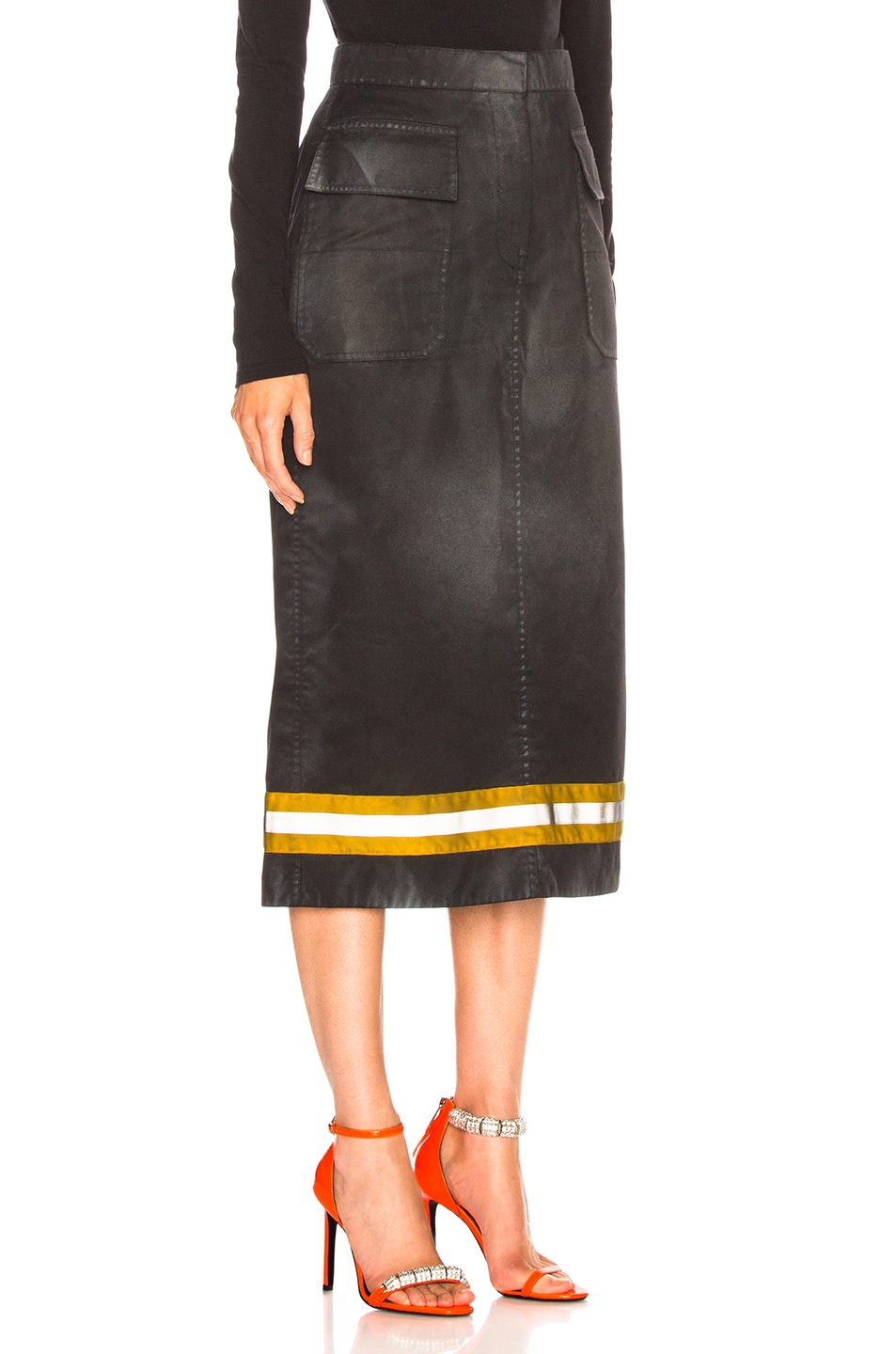 Image 2 of CALVIN KLEIN 205W39NYC Coated Cotton Gabardine Midi Skirt in Black