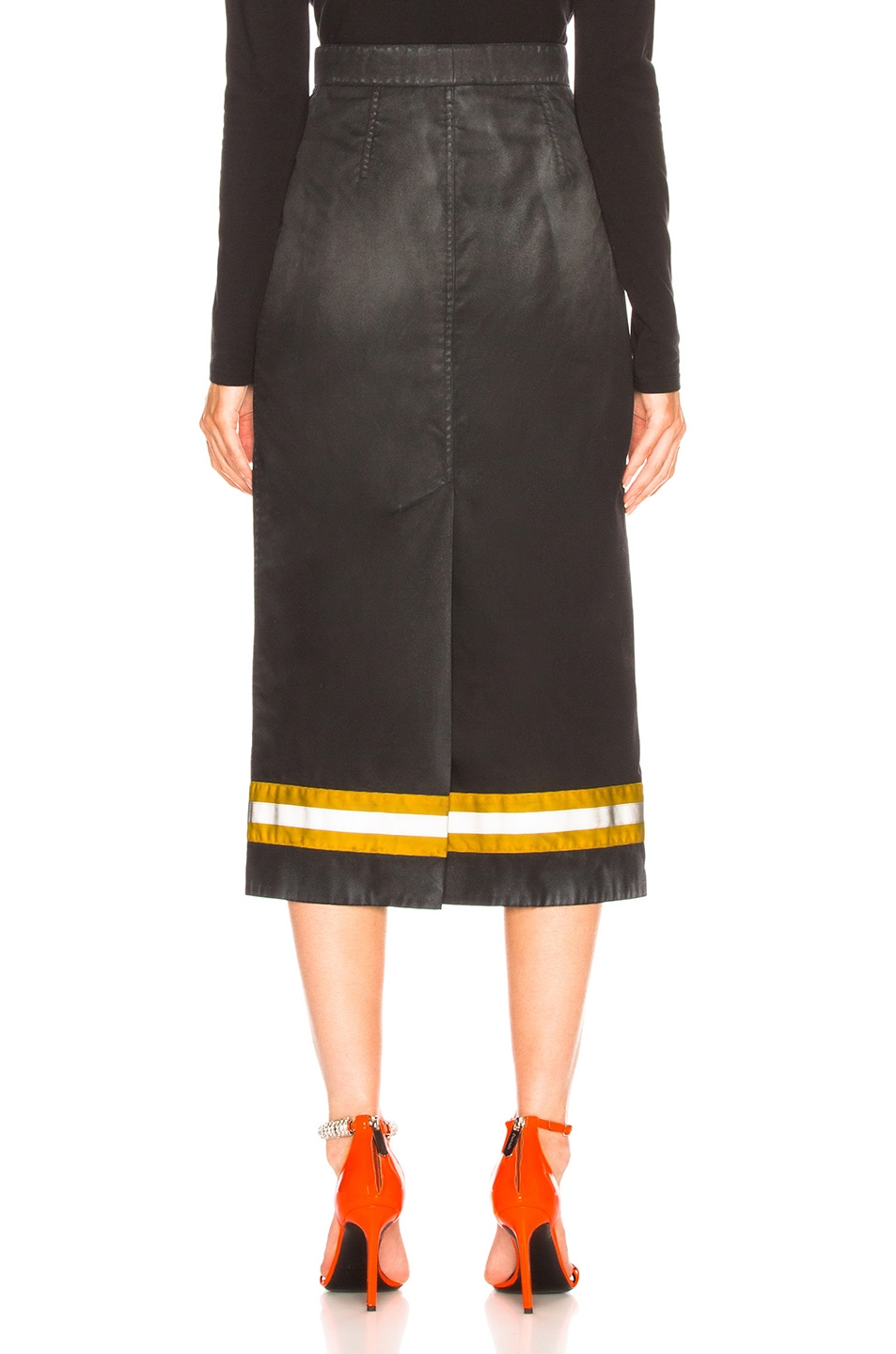 Image 3 of CALVIN KLEIN 205W39NYC Coated Cotton Gabardine Midi Skirt in Black