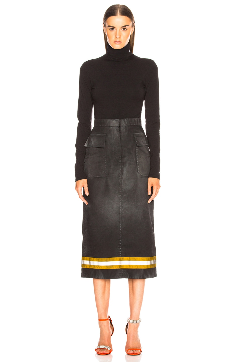 Image 4 of CALVIN KLEIN 205W39NYC Coated Cotton Gabardine Midi Skirt in Black