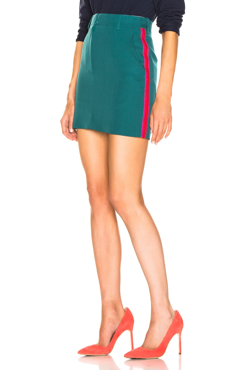Image 1 of CALVIN KLEIN 205W39NYC Stripe Skirt in Mangrove