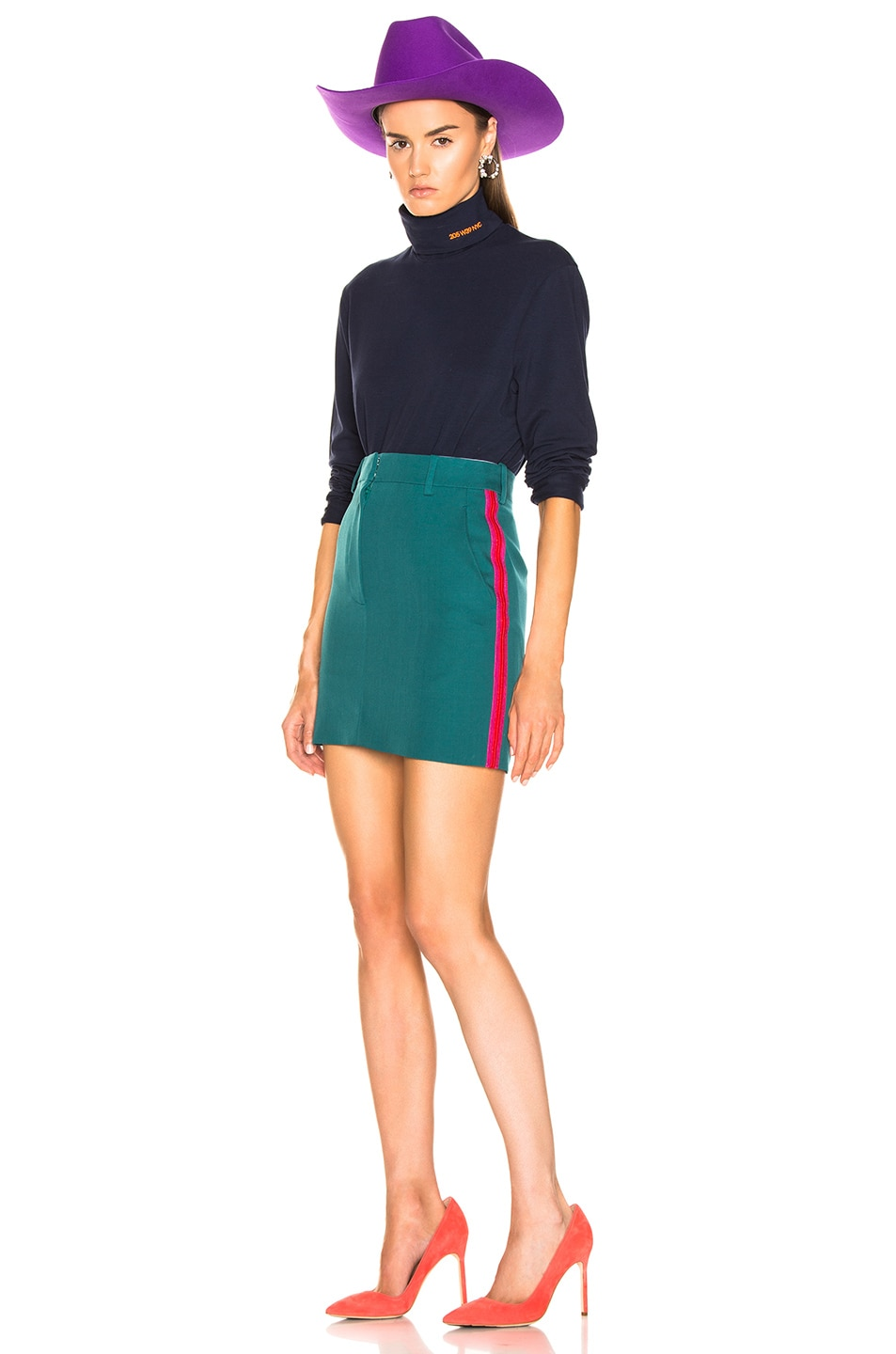 Image 5 of CALVIN KLEIN 205W39NYC Stripe Skirt in Mangrove