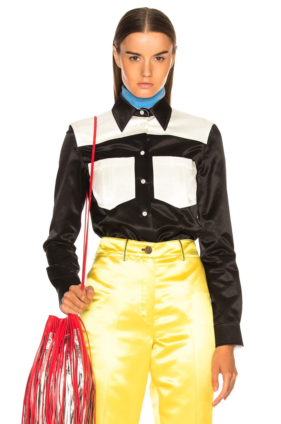 Image 1 of CALVIN KLEIN 205W39NYC Colorblocked Shirt in Black