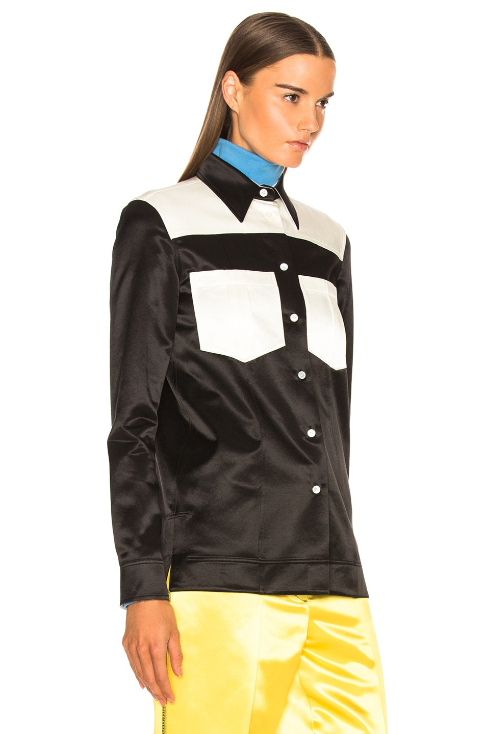 Image 2 of CALVIN KLEIN 205W39NYC Colorblocked Shirt in Black