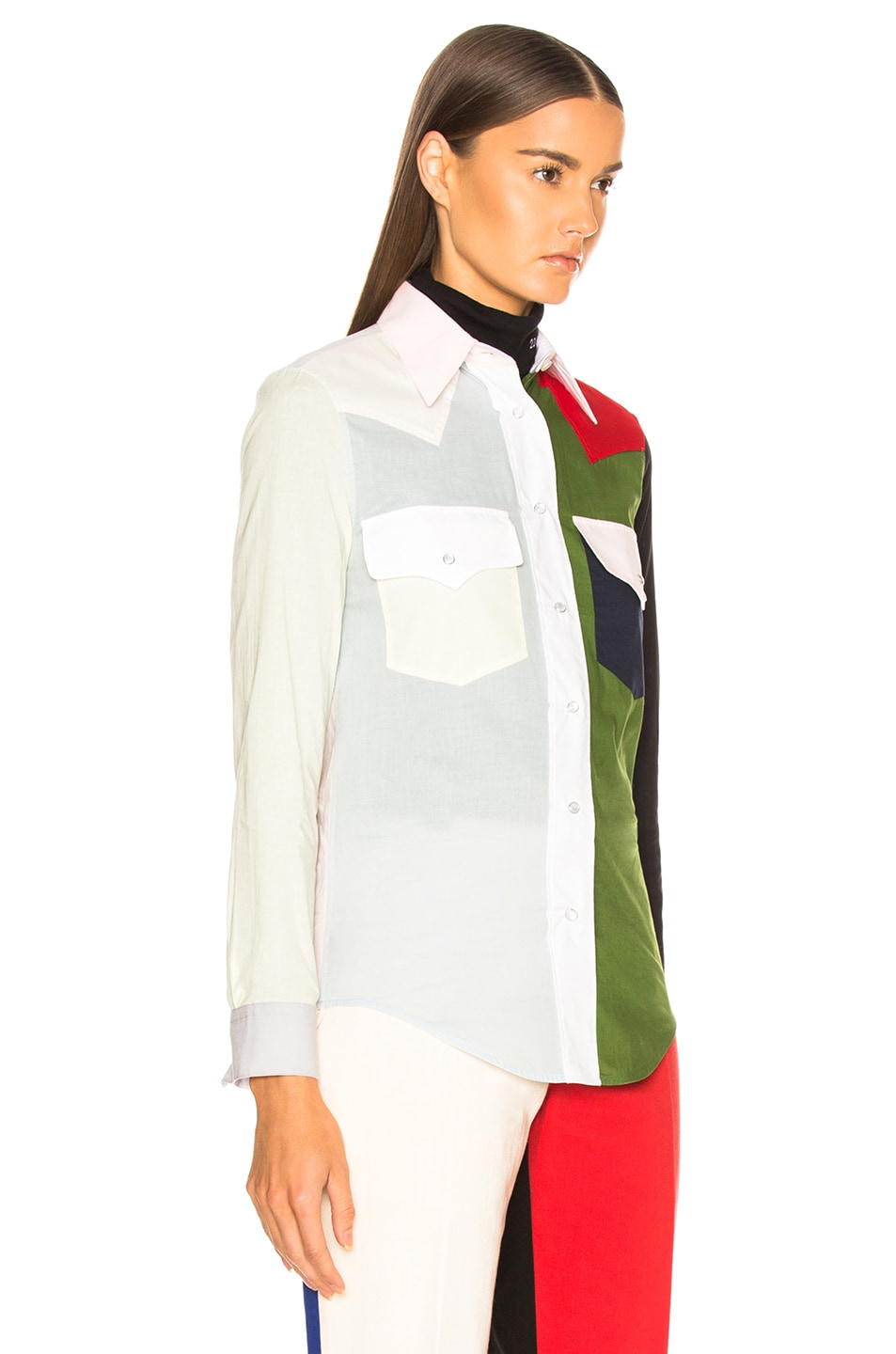 Image 2 of CALVIN KLEIN 205W39NYC Colorblocked Shirt in Dew & Fern Green