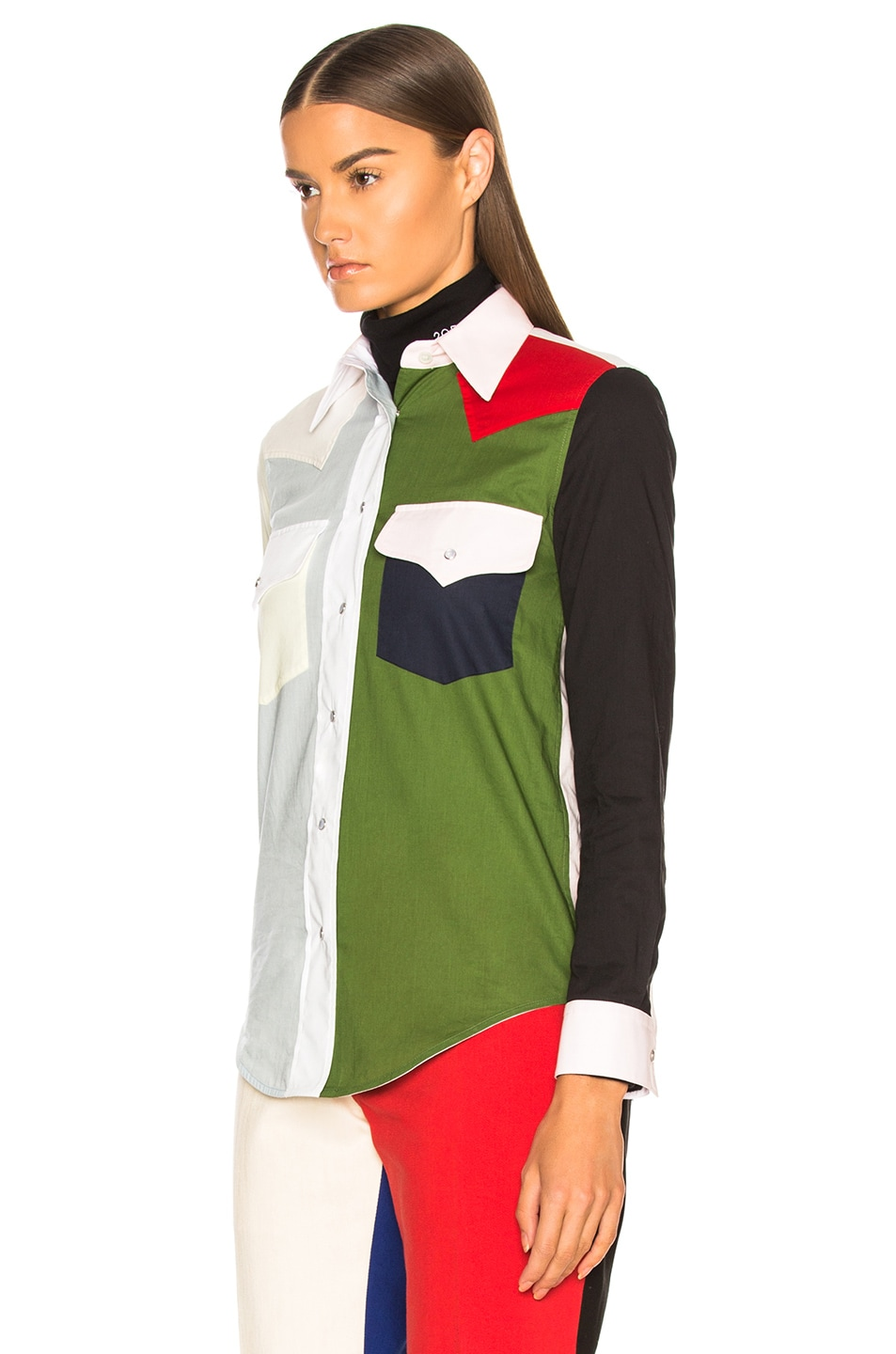 Image 3 of CALVIN KLEIN 205W39NYC Colorblocked Shirt in Dew & Fern Green