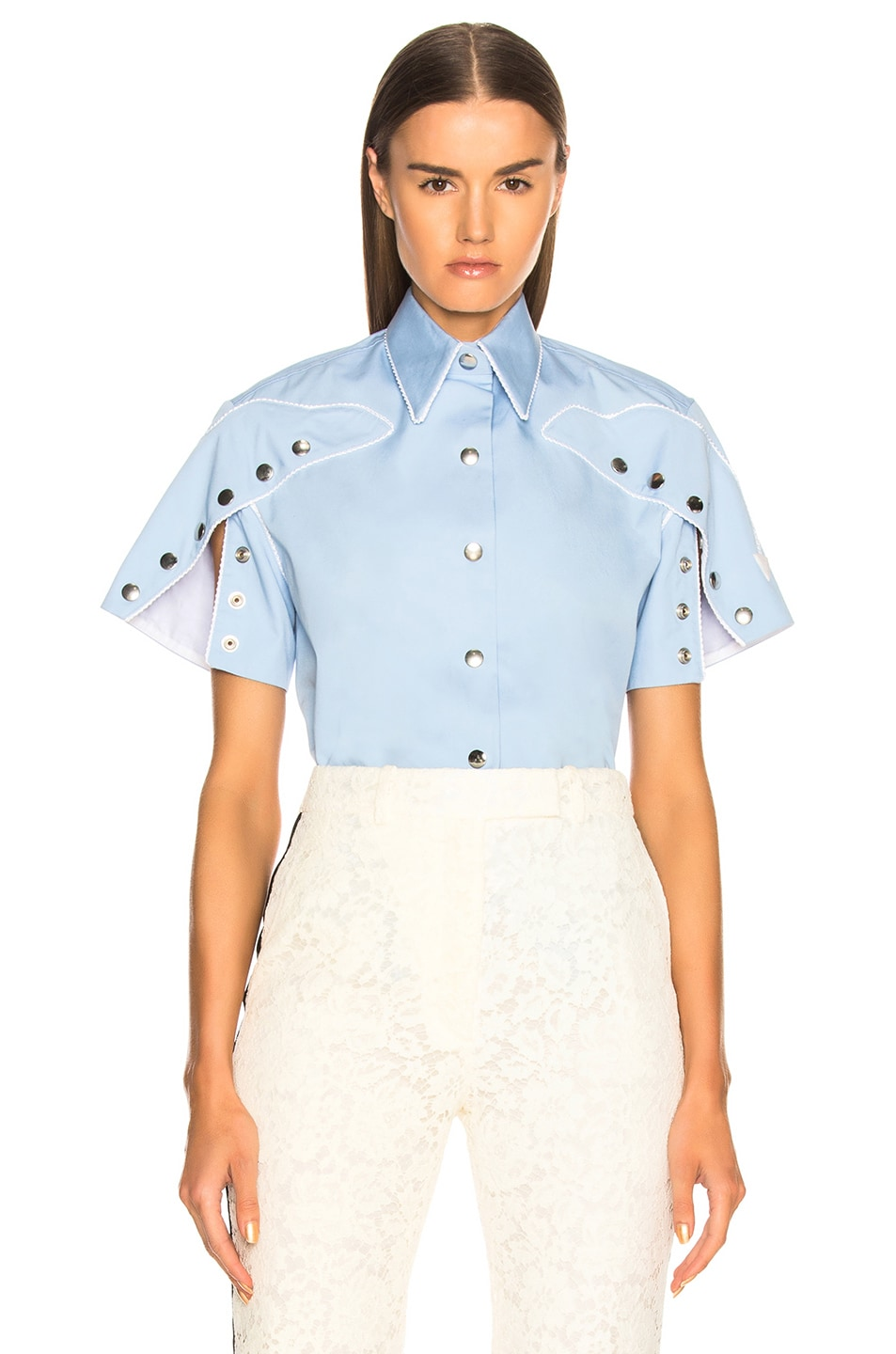 Image 1 of CALVIN KLEIN 205W39NYC Snap Cape Sleeve Shirt in Bright Blue