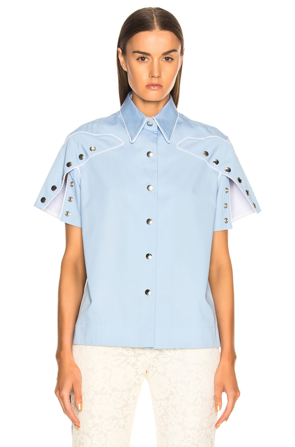 Image 2 of CALVIN KLEIN 205W39NYC Snap Cape Sleeve Shirt in Bright Blue