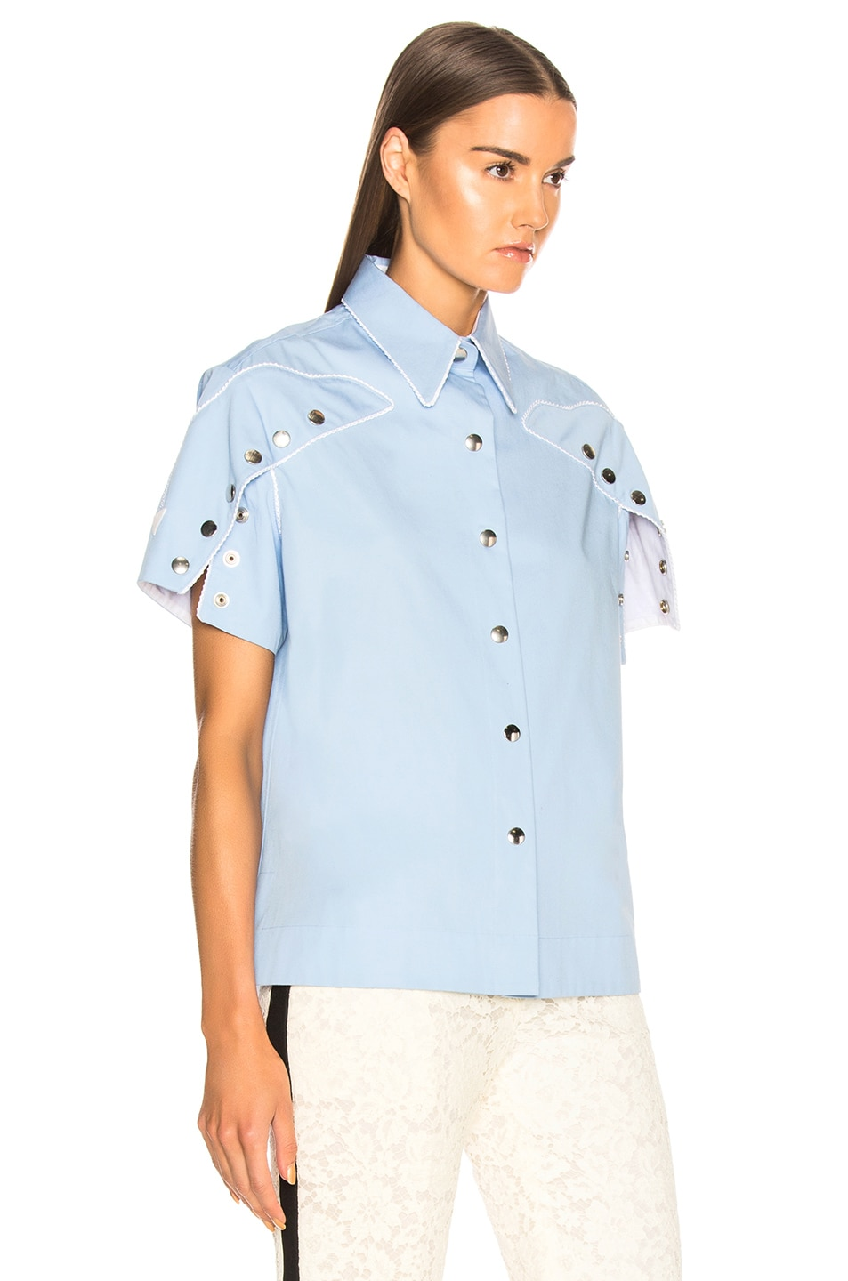 Image 3 of CALVIN KLEIN 205W39NYC Snap Cape Sleeve Shirt in Bright Blue