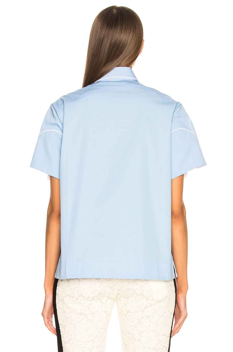 Image 4 of CALVIN KLEIN 205W39NYC Snap Cape Sleeve Shirt in Bright Blue