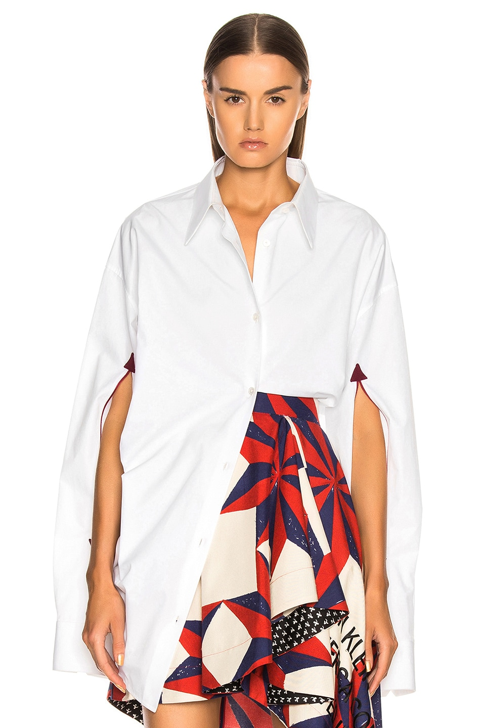 Image 1 of CALVIN KLEIN 205W39NYC Cape Sleeve Shirt in Optic White