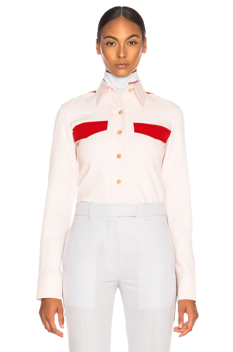 Image 1 of CALVIN KLEIN 205W39NYC Wool Twill Colorblocked Shirt in Pale Pink & Crimson