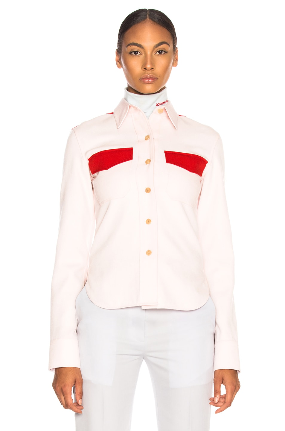 Image 2 of CALVIN KLEIN 205W39NYC Wool Twill Colorblocked Shirt in Pale Pink & Crimson