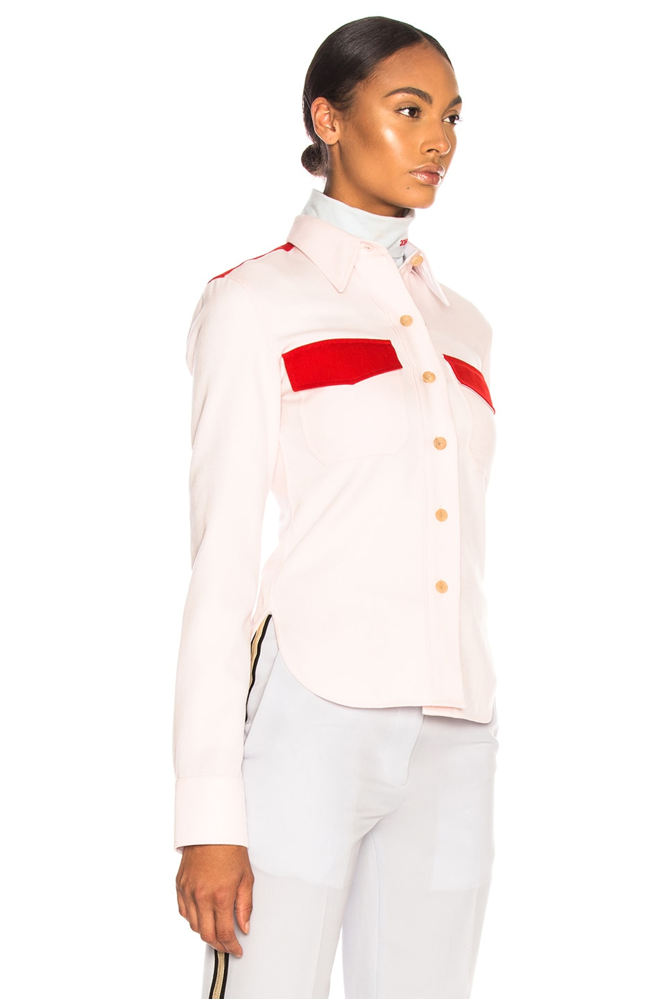 Image 3 of CALVIN KLEIN 205W39NYC Wool Twill Colorblocked Shirt in Pale Pink & Crimson