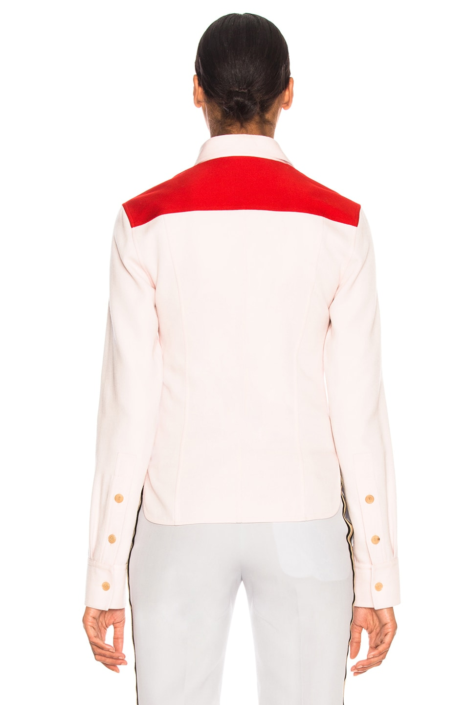 Image 4 of CALVIN KLEIN 205W39NYC Wool Twill Colorblocked Shirt in Pale Pink & Crimson