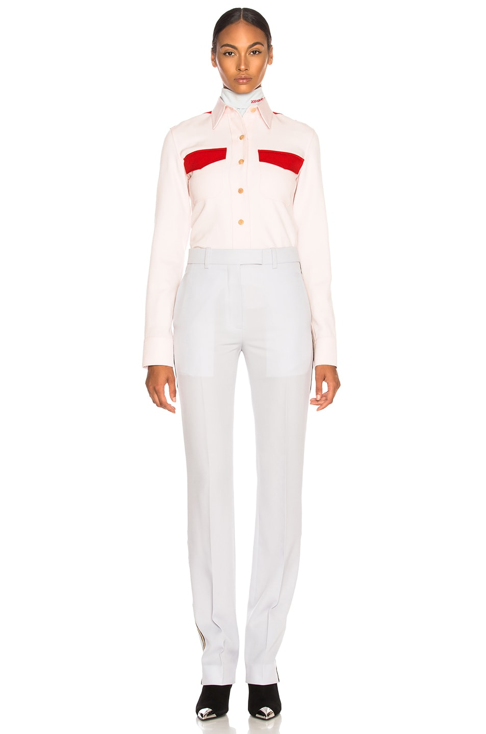 Image 5 of CALVIN KLEIN 205W39NYC Wool Twill Colorblocked Shirt in Pale Pink & Crimson