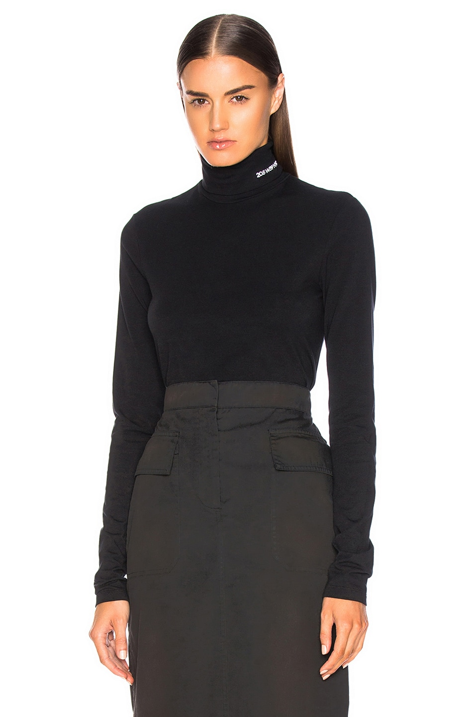 Image 1 of CALVIN KLEIN 205W39NYC Stretch Cotton Jersey Turtleneck in Black