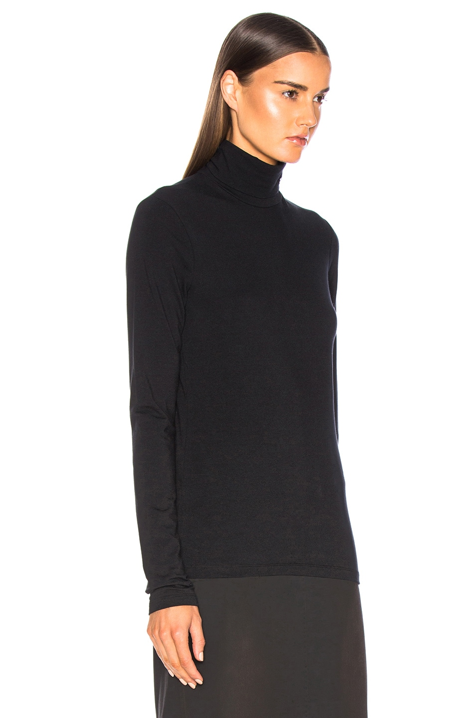 Image 3 of CALVIN KLEIN 205W39NYC Stretch Cotton Jersey Turtleneck in Black