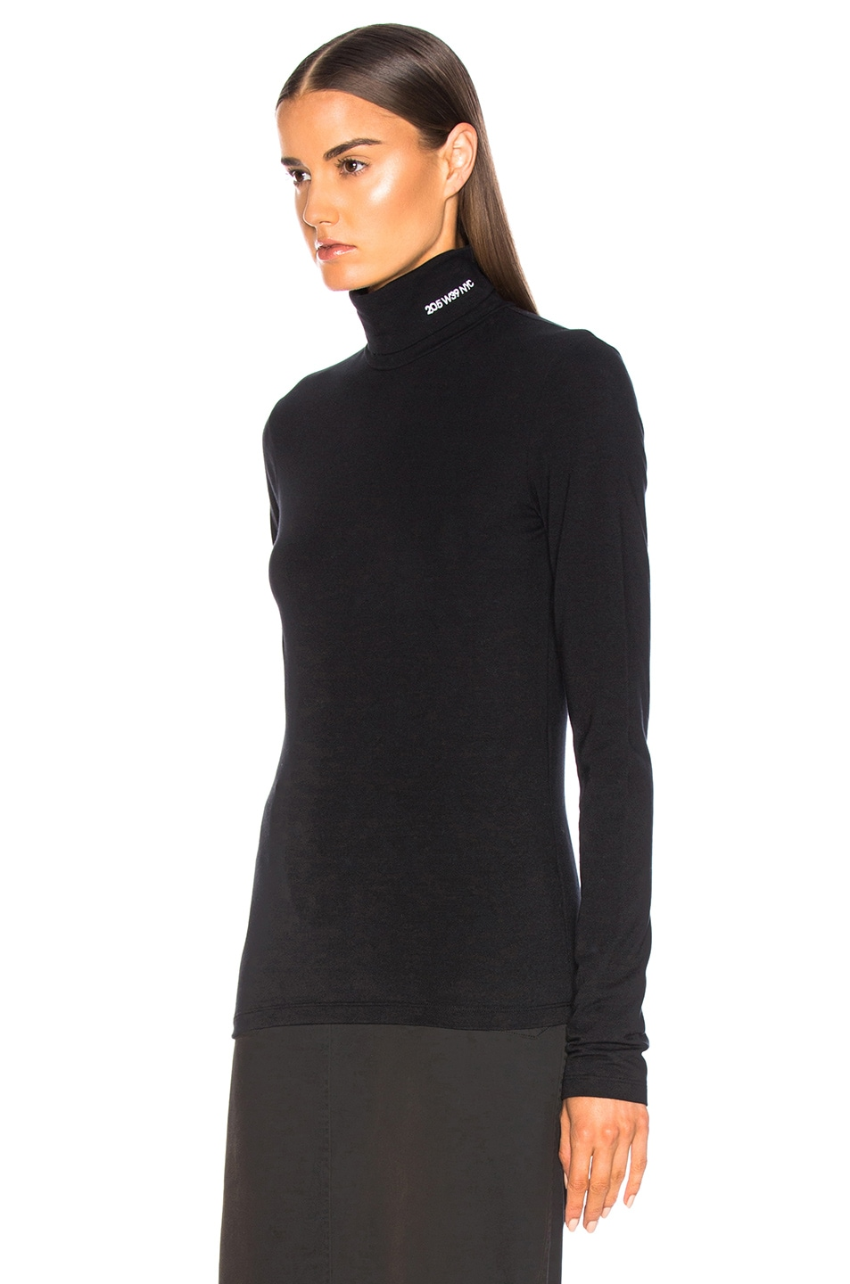 Image 4 of CALVIN KLEIN 205W39NYC Stretch Cotton Jersey Turtleneck in Black