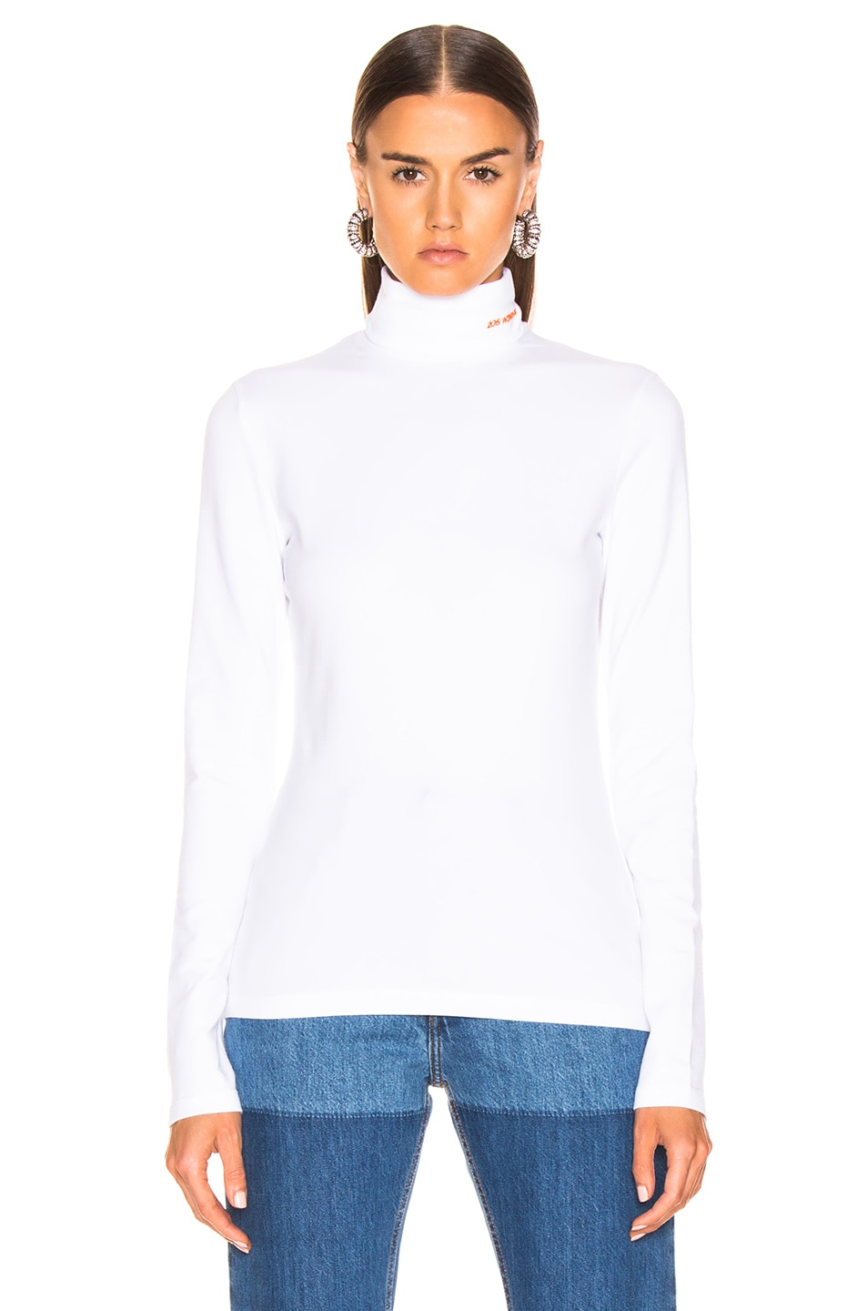 Image 1 of CALVIN KLEIN 205W39NYC Turtleneck Top in Optic White