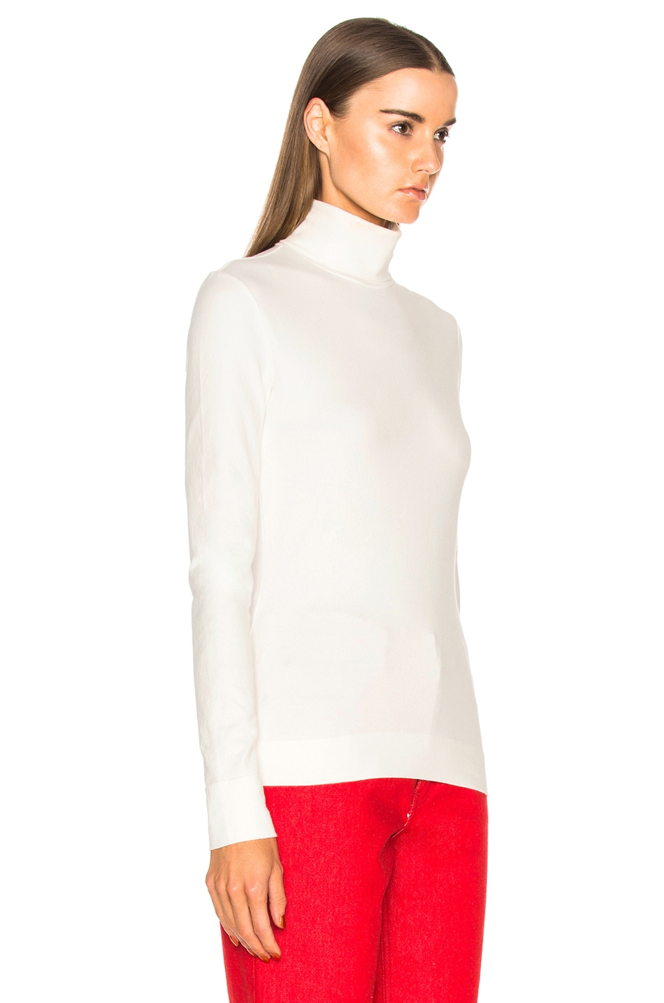 Image 2 of CALVIN KLEIN 205W39NYC Cotton Jersey Turtleneck in White