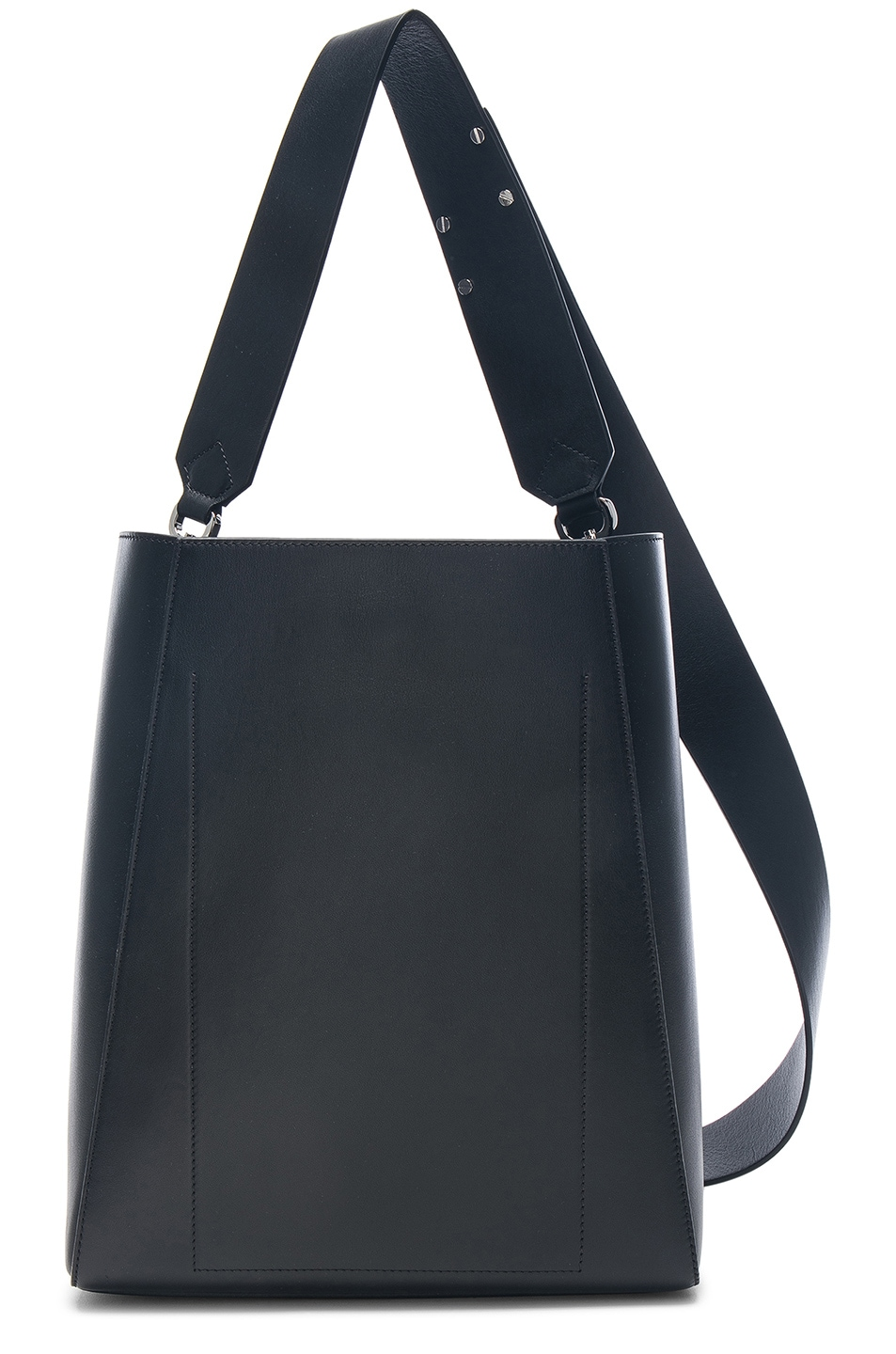 Image 3 of CALVIN KLEIN 205W39NYC Luxe Calf Leather Stripe Link Bucket Bag in Black