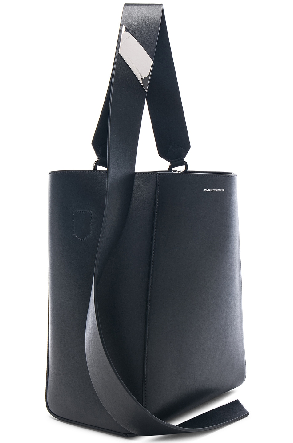 Image 4 of CALVIN KLEIN 205W39NYC Luxe Calf Leather Stripe Link Bucket Bag in Black