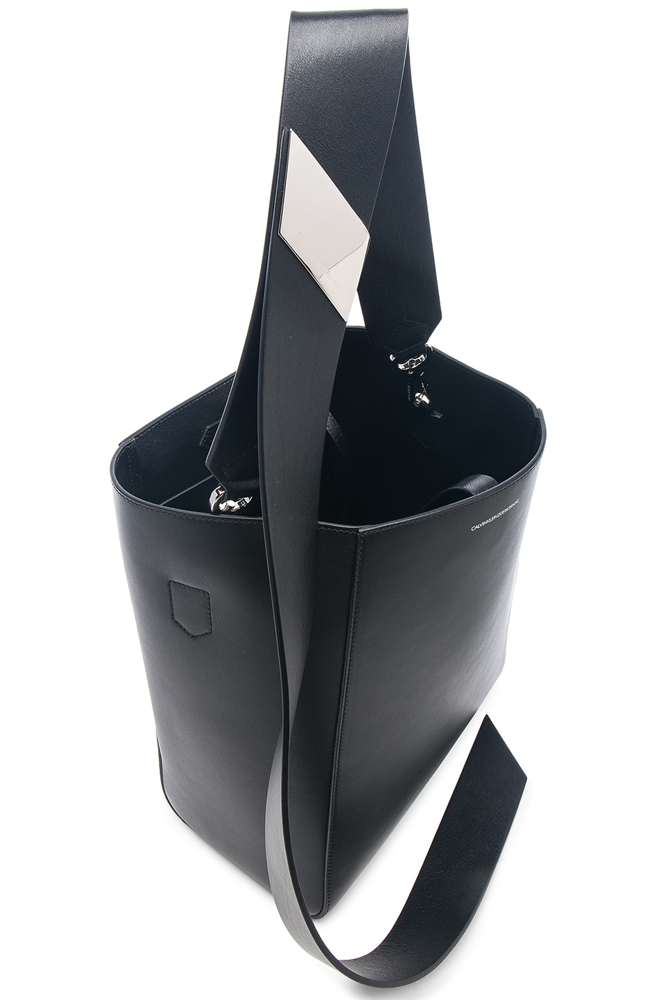 Image 5 of CALVIN KLEIN 205W39NYC Luxe Calf Leather Stripe Link Bucket Bag in Black