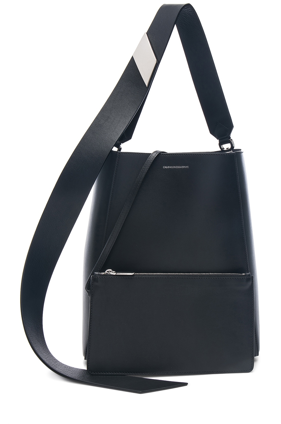 Image 6 of CALVIN KLEIN 205W39NYC Luxe Calf Leather Stripe Link Bucket Bag in Black