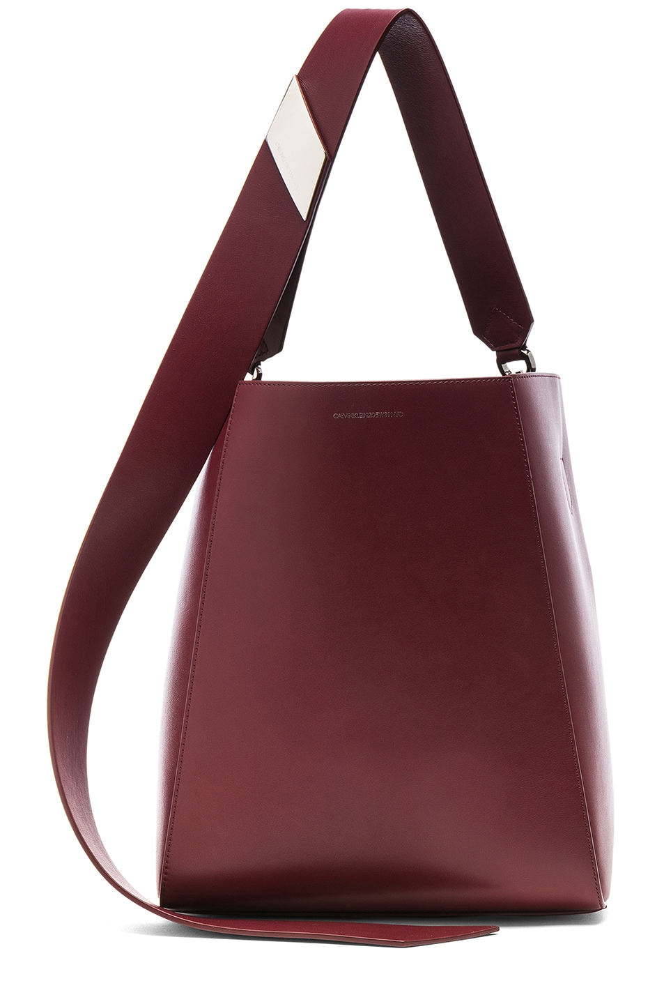 Image 1 of CALVIN KLEIN 205W39NYC Luxe Calf Leather Stripe Link Bucket Bag in Cherry
