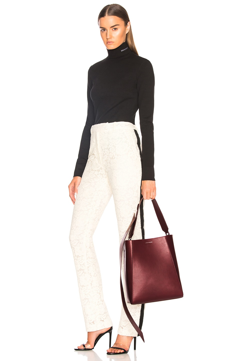 Image 2 of CALVIN KLEIN 205W39NYC Luxe Calf Leather Stripe Link Bucket Bag in Cherry
