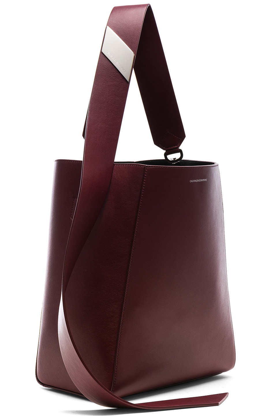 Image 4 of CALVIN KLEIN 205W39NYC Luxe Calf Leather Stripe Link Bucket Bag in Cherry