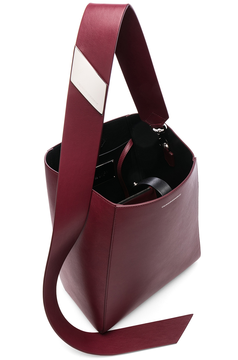 Image 5 of CALVIN KLEIN 205W39NYC Luxe Calf Leather Stripe Link Bucket Bag in Cherry