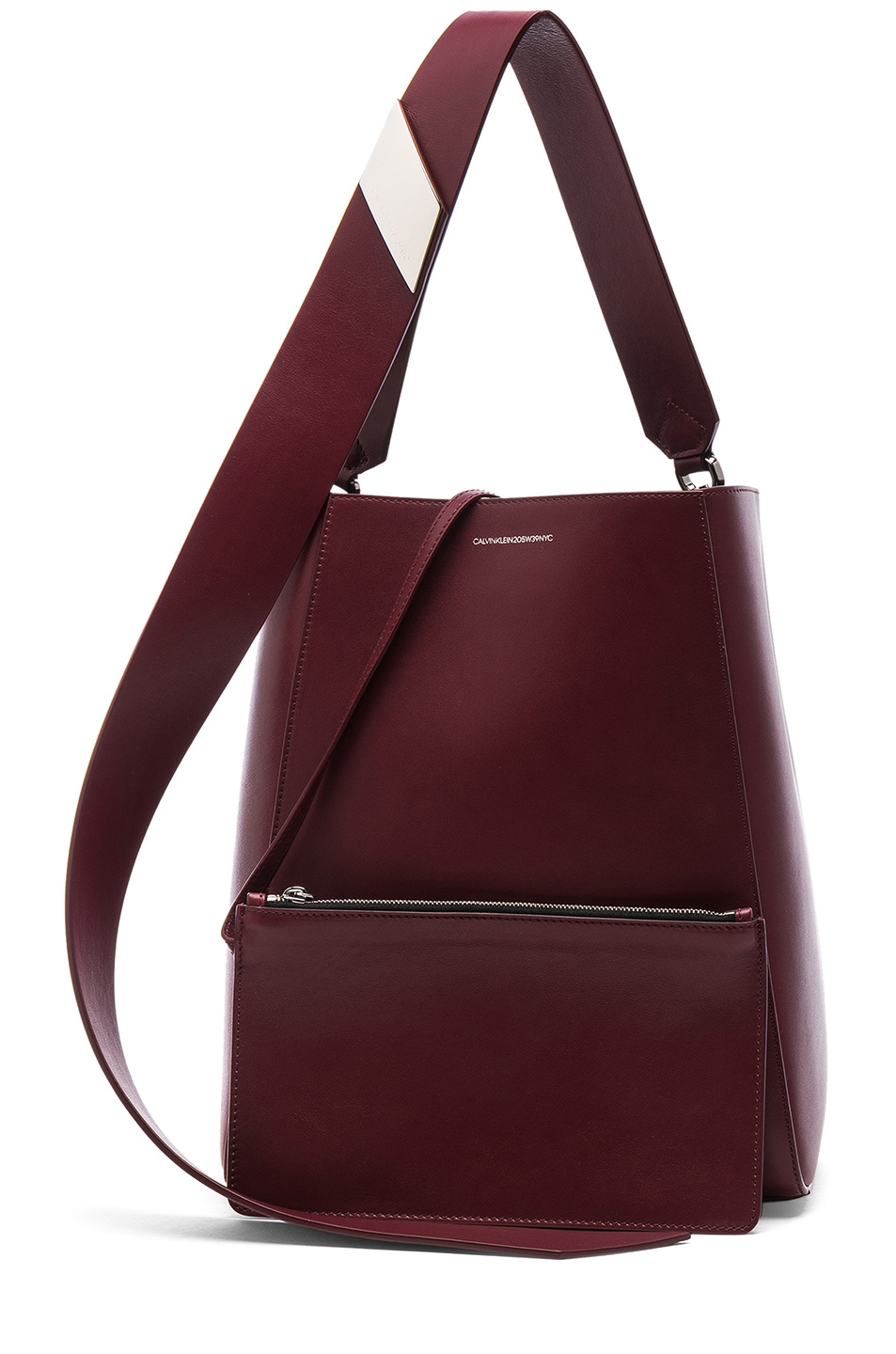 Image 6 of CALVIN KLEIN 205W39NYC Luxe Calf Leather Stripe Link Bucket Bag in Cherry
