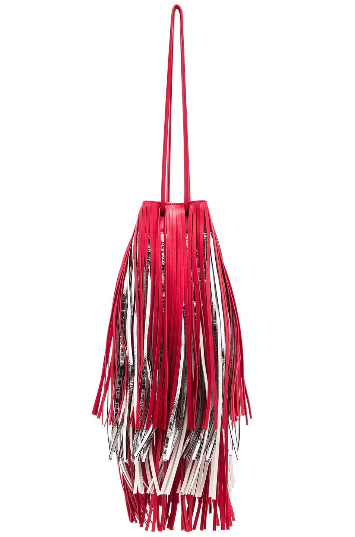 Image 3 of CALVIN KLEIN 205W39NYC Short Fringe Bucket Bag in Red