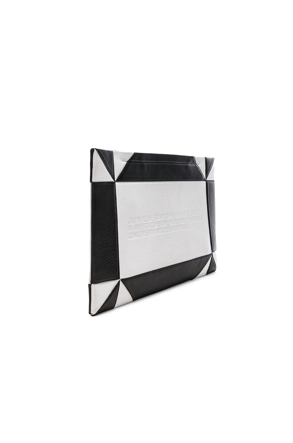 Image 4 of CALVIN KLEIN 205W39NYC Geometric Quilted Clutch in White & Black