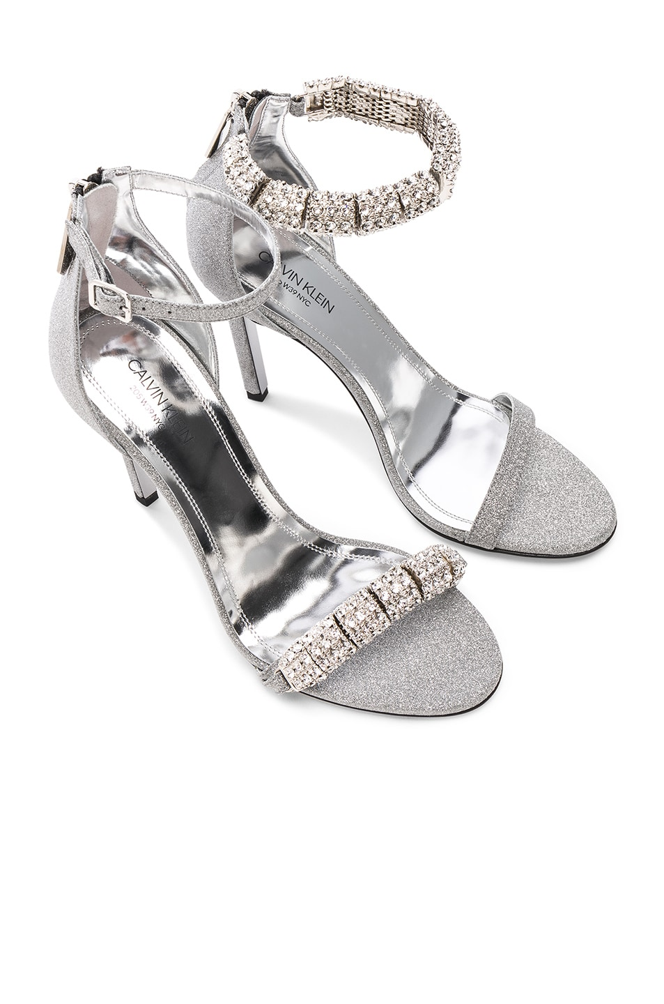 Image 1 of CALVIN KLEIN 205W39NYC Camelle Diamond & Swarovski Embellished Sandals in Silver